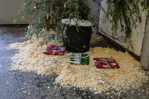 Under granen låg julklappar till barnen.