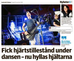 Torsdagens artikel om dramat i Erikslunds Folkets hus i Sundsvalls tidning.