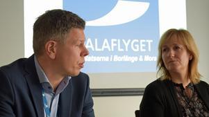 Anders Mjöberg, VD och flygplatschef för Mora/Siljan flygplats,  och Anna Hed (C).