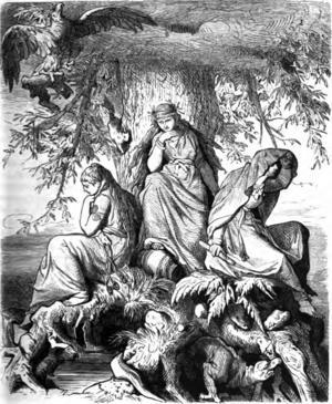 Nornorna vid Yggdrasils rötter. Illustration  av Ludwig Burger från 1882.