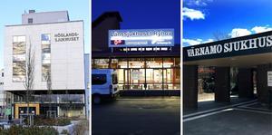 74 personer vårdas på söndagen på länets sjukhus. Från vänster: Höglandssjukhuset i Eksjö, Länssjukhuset Ryhov i Jönköping och Värnamo sjukhus. Foto: Mikael Fritzon/TT, Thomas Johansson/TT, Christer Gallneby