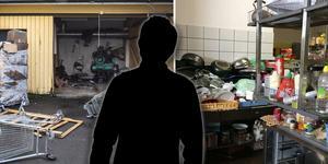 Baksidan av butiken samt en interiörbild från köket i samband med ett polisförhör.