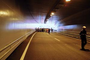 Tunnelinvigning i Åre 2005. Ett nytt förslag tar upp en längs en annan sträckning av E14 i centrala Åre har varit uppe i Samhällsbyggnadsnämnden. Foto: Åke Nord