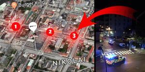1) Burger King 2) Utanför Fratellis och 3) Nygatan nära Trädgårdsgatan  - här skedde nattens tre våldsbrott i Örebro. Karta: Google/NA samt läsarbild.