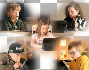 Här är Orrvikens lag som gick långt i Sikta mot stjärnorna: Anton Ståhlström, Agnes Bull, Niilas Mattsson Åhren, Teo Vorne och Edvin Olsson. Foto: Anders Nylén