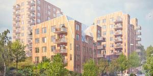 Tre höghus ska byggas på Höjdgatan i Nynbäshamn. Illustration: BTH Bostad