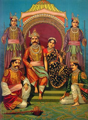 Månggifte är tillåtet i många länder och kulturer, men inte i västvärlden. Att en kvinna gifter sig med flera män förekommer i Indien, Tibet, Nepal och delar av Kina. Målning Raja Ravi Varma från 1910.