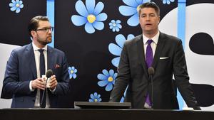 Jimmie Åkesson (SD) och Oscar Sjöstedt (SD). Bild: Anders Wiklund/TT