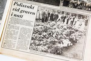 Riv från Expressen den 16 september 1978. Polisen vaktade Ronnies grav mot souvenirjägare.