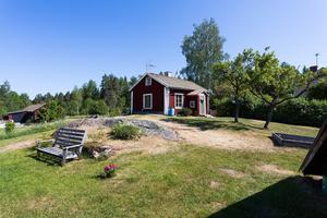 Huset är omgivet av en trädgård med fruktträd. Foto: Bostadsfotograferna