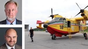 Johan Pehrson (överst) och Peter Larsson skriver om behovet av regionala flygplatser. Ett italienskt brandbekämpningsplan opererade ett tag från flygplatsen i Örebro sommaren 2018. Bilden är ett montage.