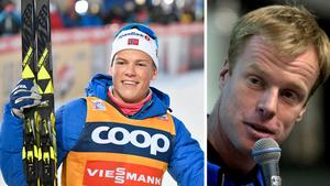 Två generationer norska skidstjärnor: Johannes Kläbo till vänster och Björn Dählie till höger. Bild: TT Nyhetsbyrån.