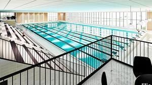 Lögarängsbadet väntas bli klart våren 2019.  Bild: Arkitektfirman Liljewall.