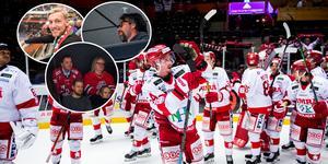 Emil Forsberg, Peter Forsberg och Stefan Löfven kollade på derbymatchen. Foto: Erik Mårtensson/Bildbyrån och Sandra Nordlund/Allehanda.se