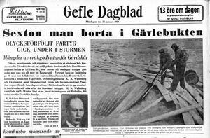 Den 11 januari 1954 nådde nyheten om Nedjans förlisning ut till GD:s läsare.