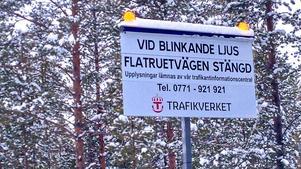 Väg 531, Flatruetvägen, brukar stänga vid dåligt väder.