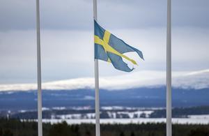 Fanan var halad på halv stång utanför Fältjägargruppens lokaler på Frösö park, Östersund, i slutet av mars då man höll minnesstund för kvinnan som omkommit.