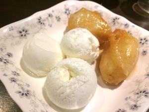 Friterad banan med glass