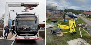 I december 2019 invigdes den nya laddstationen för elbussar vid Asecs. Nästa sommar blir det Huskvarnas och Viktoriaplans tur. Foto: Robert Eriksson / Herman Nikolic