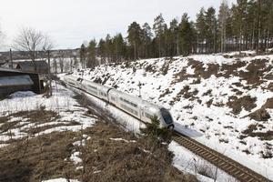 En del av Ostkustbanan vid Hudiksvall.