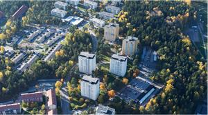 Flygbild över Bårstabergen. Foto: Södertälje kommun