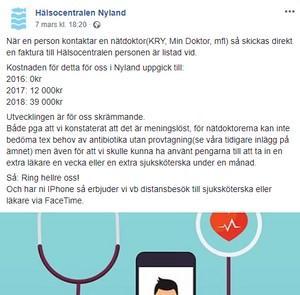 Hälsocentralen i Nyland sammanfattade i mars vad nätläkarapparna kostat dem under 2018. Skärmdump Facebook