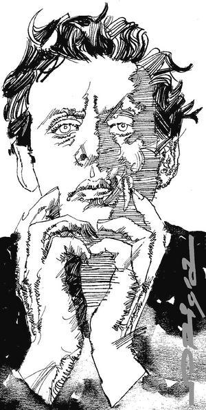 Philip Glass 2008. Målning av Graziano Origa.