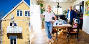 Eva och Martin Lindbergs hem är färgstarkt och personligt inrett med starka, klara färger.