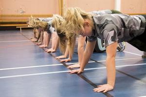 Deltagarna fick testa på delar av Försvarsmaktens fystest, med flera delmoment: armhäng, rygghäng, upphopp, armhävningar och situps.
