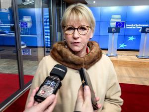 Arkivbild på Margot Wallström från ett utrikesministermöte i Bryssel. Foto Wiktor Nummelin / TT