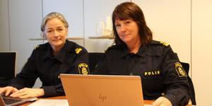 Polisinspektör Pia Johnson, t.v. och polisinspektör och projektledare Susanne Lindström, t.h. inledde projekt