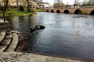 Vattennivån i Lagan är den högsta sedan översvämningen 2004.