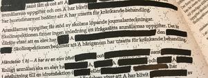 Skolinspektionens beslut omfattar elva sidor och mycket av informationen är sekretessbelagd.