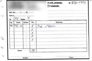 Tidssedel från flyttfirman.