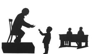 Skolgossen Algot Göransson ger magistern 1 öre till en staty.