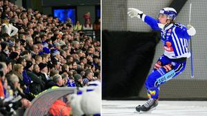 Martin Karlsson firar efter ett av sina mål i första halvlek mot Edsbyn. Bild: Jonna Igeland