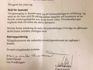 Vice överåklagare Astrid Eklund vid Utvecklingscentrum i Stockholm har beslutat att förundersökningen ska återupptas och att eventuellt ytterligare brott som kvinnan kan ha begått också ska utredas.