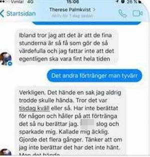 Konversation mellan Therese Palmkvist och en bekant, som vittnade i rätten. Bild: Polisens förundersökning