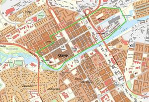 Inom det markerade området på den den här aktuella kartan ägde stadsbranden 1869 rum. Kartbild: Lantmäteriet.