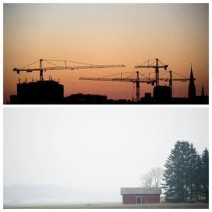 Skymning bakom byggkranar i huvudstad och lugn gryning i landsbygd. Självklara delar av samma land. Foto: TT