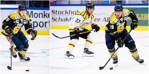 Christopher Bengtsson, till vänster, och Lucas Carlsson splittras av SSK-tränaren Ulf Lundberg. Foto: Bildbyrån.