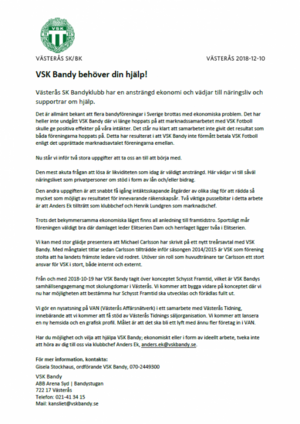 Pressmeddelandet från VSK:s hemsida
