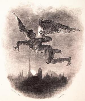 Djävulen flyger över Wittenberg. Litografi av Eugène Delacroix från 1828.