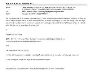 Mejl mellan Daniel Kindberg och Hans Carlsson från februari 2014. Bild från förundersökningen.