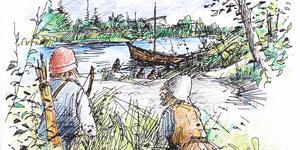 Vikingen Holme tillsammans med sonen Holmfast tittar ängsligt ned mot Sagån där en skepp med okända män nyss ankrat upp. Teckning av Bo Svärd