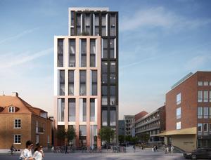 15 våningar och en bruttoarea på cirka 12 500 kvm kommer fyllas med restaurang, event- och kontorslokaler. Illustration: Yellon