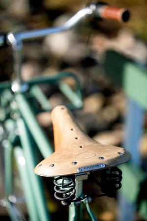 Modellen Stålhästen Grön, med lädersadel.