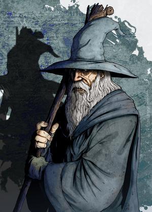 Gandalf är Sagan om ringen-böckernas motsvarighet till trollkarlen Merlin i sagan om kung Artur och Obi-Wan Kenobi i filmerna om Stjärnornas krig. Illustration: Nidoart