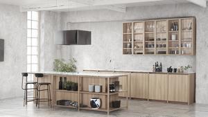 Ett modernt kök i traditionella träslag som alm, vitbonad ask, vitbonad ek och rökt ek.