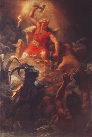 Tor i strid med jättar. Målning av Mårten Eskil Winge från 1872.